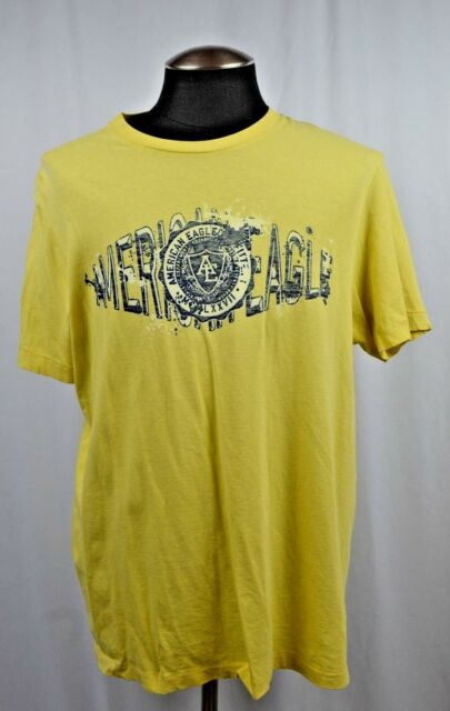 ea0716552 American Eagle Outfitters Mens L Crew Neck Yellow Graphic T Shirt Top Size  Large