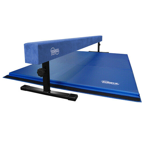 bluee Suede Adjustable Height Balance Beam and bluee Gymnastics Mat   zero profit
