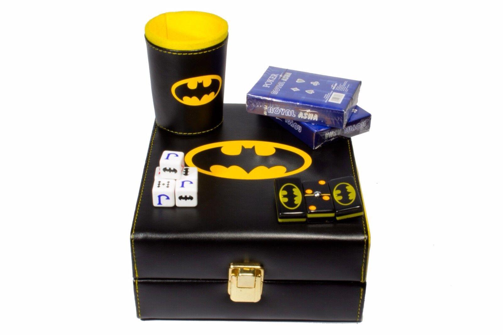 Batman Deluxe Set 3 Games  Domino, Dice Cup, 2 Poker Cards
