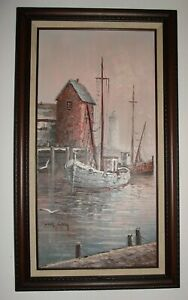 """24"""" x12 Original Oil Painting on Canvas Signed Max Savy French Seascape Nautical"""