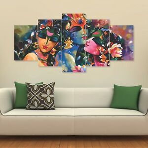 Lord Krishna 5 Panels Wall Painting For Living Prayer Room 151