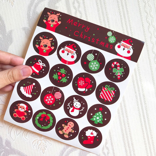 160pcs Stickers Merry Christmas Badge Envelope Seal Wrapping Sticker Decoration