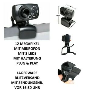 Webcam USB Web Kamera für Laptop PC Notebook Skype mit Mikrofon, LEDs, Halterung