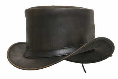 Men/'s Cowhide Reversible Cage Leather Deadman Top Hat Motorcycle Style Top Hat