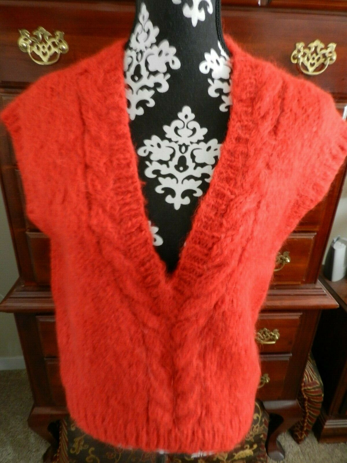 100% Wool Hand Knit Sweater-Vest Red Quality From Grandma's Estate