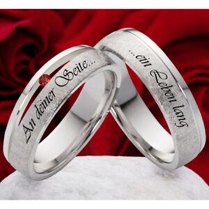 2-Trauringe-Eheringe-mit-Granat-Hochzeitsringe-925-Silber-mit-Lasergravur-SLG43