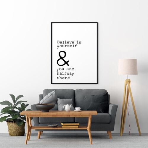 Inspiré Imprimé crois en toi-même Citation typologie imprimé noir et blanc Art