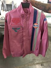 PINK Formula One Racing Leather Lined Motorcycle Jacket Womens Small