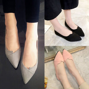 Women-Lady-Pointed-Toe-Ballet-Flats-Slip-on-Suede-Shoes-Stiletto-Loafer-Fashion