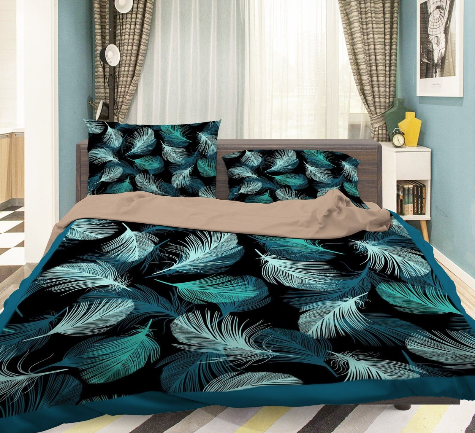 3D Green Feathers 78 Bed Pillowcases Quilt Duvet Cover Set Single Queen AU Carly