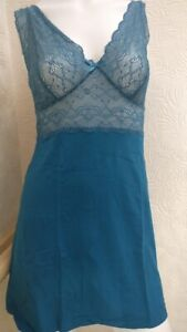 Figleaves-Pandora-Stretch-Lace-D-G-Chemise-Nightdress-Peacock-UK-8-NEW
