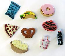 Juego de 9 Lindo Kitsch Kawaii comida rápida botones de merienda cabachons Scrapbook Pizza