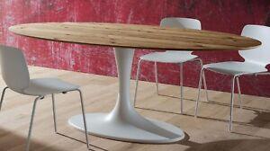 Tavolo Ovale Antico : Tavolo da pranzo rud base laccata bianca piano ovale legno rovere