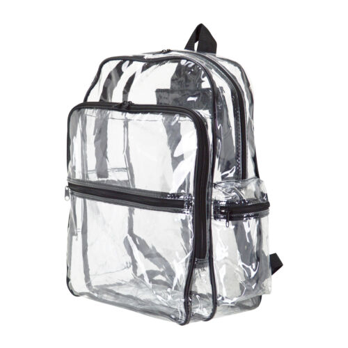 CLEAR LARGE TRANSPARENT PVC SCHOOL NFL SECURITY BACKPACK TRAVEL BOOKS BAG