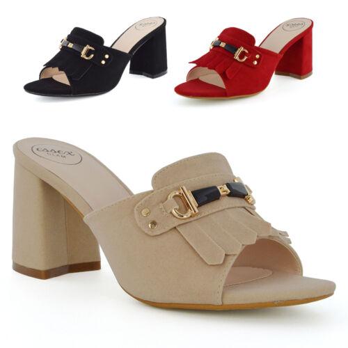 Para mujeres Zapatos Taco de Bloque Hebilla Slip On Mula Damas Peep Toe Sandalias de espalda abierta