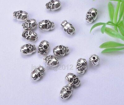 20pcs Tibetan silver Skull Bead Charm Loose Beads 10x7.5mm  NH740