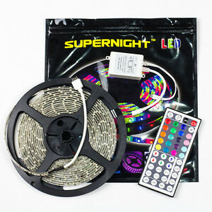 SUPERNIGHT® Waterproof 5M RGB 3528 Strip Lights 300led+ 44key Remote Controller