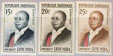 GABON GABUN 1962 167-69 160-62 President Leon Mba Statesman Famous Persons MNH