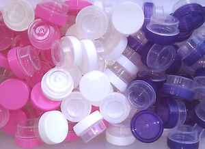 12-TINY-Plastic-Lip-Gloss-JARS-1tsp-Creme-Container-Posh-Samples-3301-DecoJars