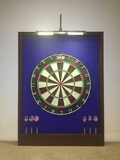 LED LIGHTED Blue/Brown Dart Board Cabinet & DMI Staple-Free Sisal Bristle Board