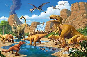 Fototapete-Kinderzimmer-Abenteuer-Dinosaurier-Wandbild-Dekoration-Dino-welt