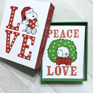 Snoopy Christmas Cards.Details About Snoopy Christmas Cards Box Set 20 Blank Holiday Peanuts Love Peace Graphique