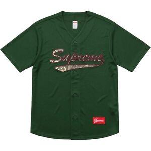 342958ecc Details about Supreme Snake Script Logo Baseball Jersey Large Dark Green  Box Logo Snakeskin