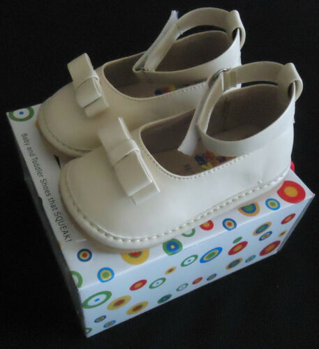 NEW CREAM ANKLE STRAP FANCY BOW SQUEAKER SNEAKERS SHOES SZ 9