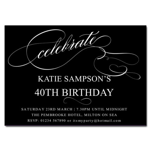 Celebrate Personalised Birthday//Celebration Party Invitations 12 colours avail