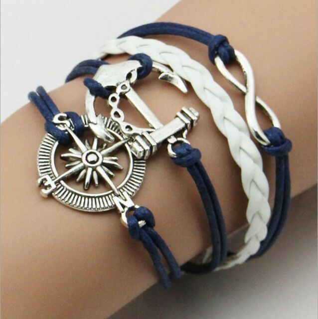 NEW Hot Infinity Love Anchor Leather Cute Charm Bracelet plated Silver DIY SL91