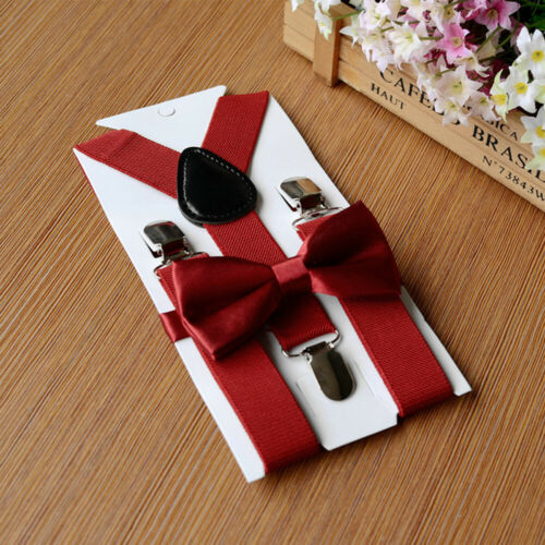 Braces Suspenders Accesories Luxury Wedding Bow Tie Set Kid Children Boys Girl