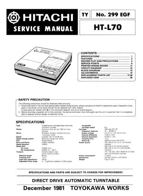 Service Manual For Hitachi Ht