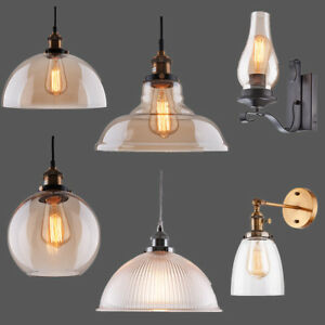 Vintage Retro Industrial Smoke Glass Shade Loft Cafe Pendant Light Ceiling Lamp