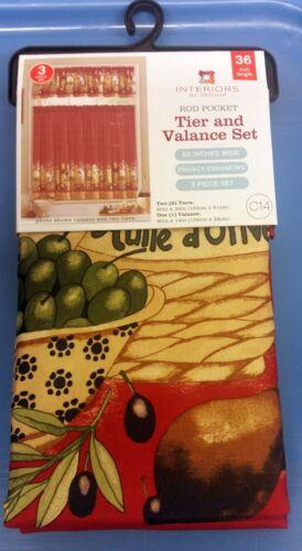 "60/""x14/"" Rod Pocket Curtains Set C15 /& Valance Tier 60/""x36/"" 3 Pc MB OLIVES"