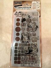 Tim Holtz Clear Acrylic Stamp & Stencil Bird Crazy Set by Stampers Anonymous NEW