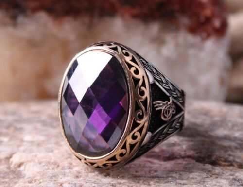 Turkish 925 Sterling Silver Lux purple amethyst stone Mens man ring ALL SİZE 58