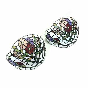 Pair of Tiffany Style White Flowering Vine Stained Glass ...