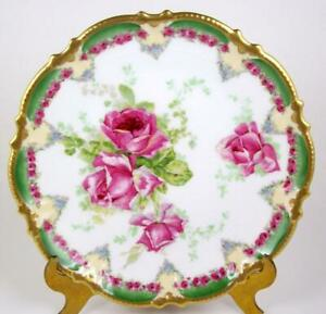 4 available French Porcelain Gold Pink Rose Decorated Oyster Plate
