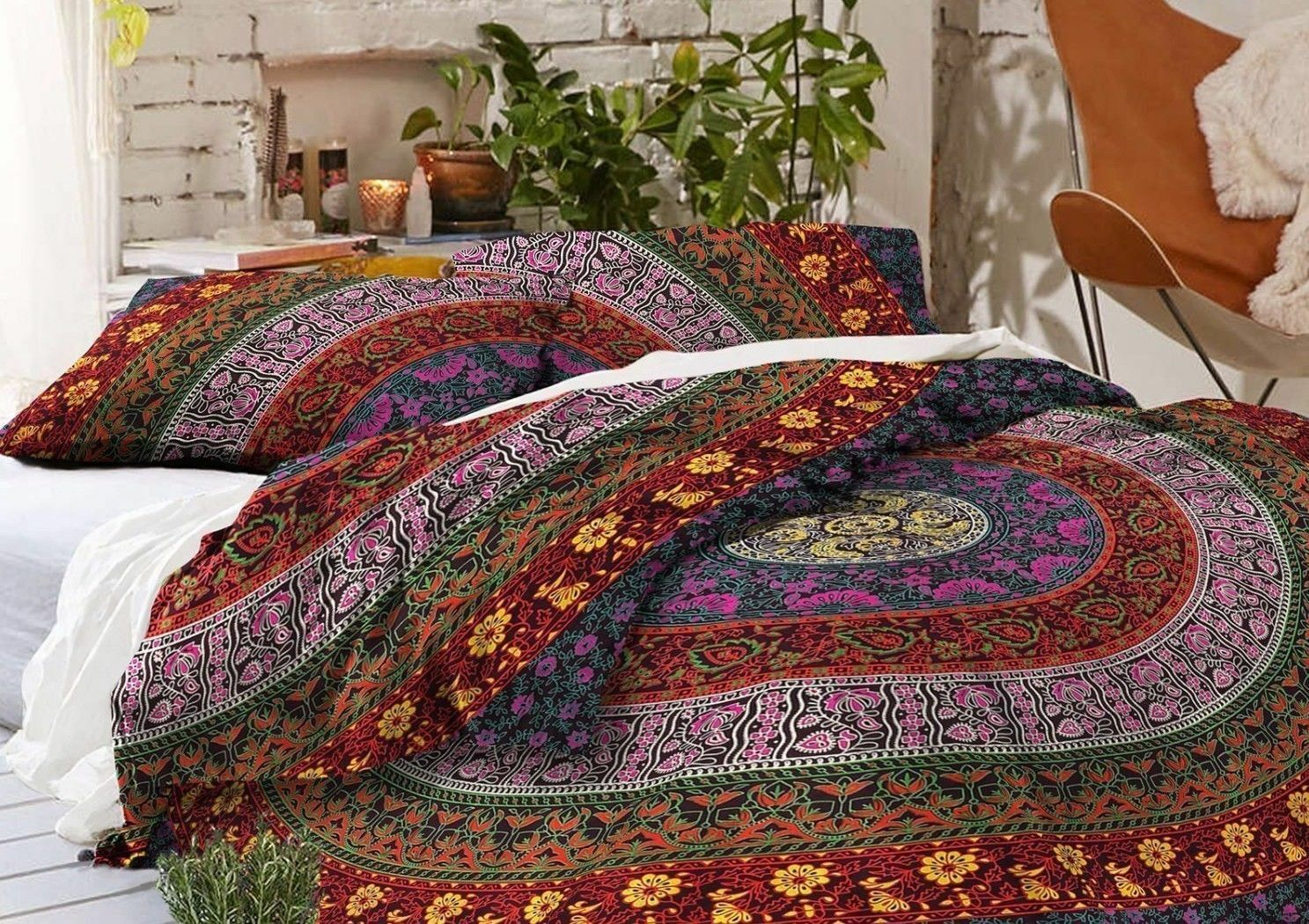 Indian Mandala Duvet Doona Quilt Cover Set Queen King Single Size Bedding Throw