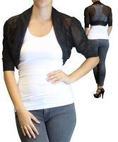 Women's Plus Size Short Sleeve Black Bolero Cardigan Size 1x Made Usa