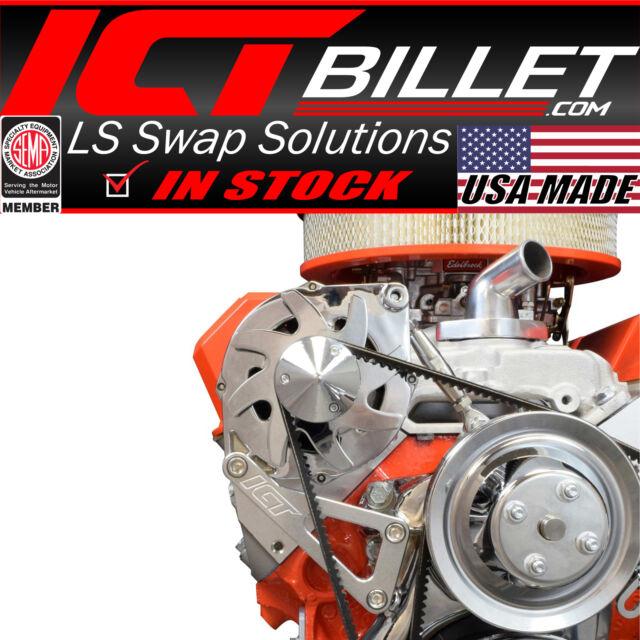 SBC Billet Alternator Bracket Adjustable LWP Small Block Chevy Kit 551411 ICT Billet