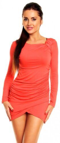 941z Women/'s Micro Minidress Tunic Top Front Pleats Long Sleeves Zeta Ville