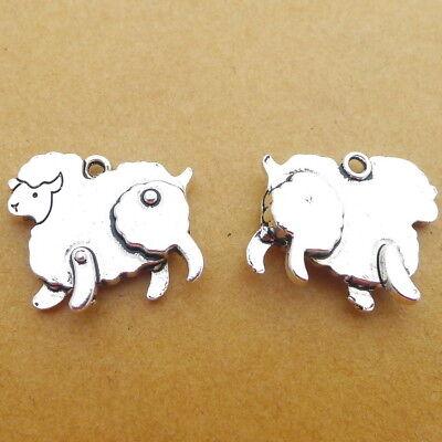 8pcs Charms Farm Sheep Animals Tibetan Silver Beads Pendant DIY Craft 20*17mm