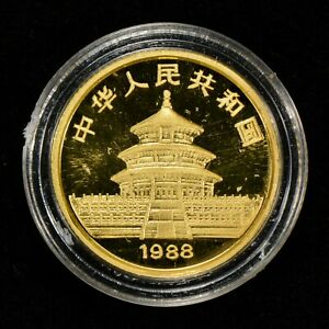 1988-10-YUAN-CHINA-1-10-oz-GOLD-PANDA-COIN-PROOF-OMP-LOT-Z126