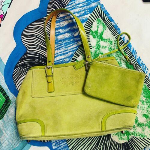 EUC COACH Lime Green Suede Handbag Purse Bag With
