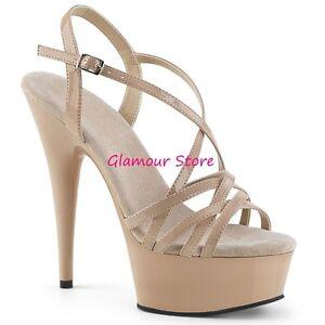 Sexy SANDALI tacco 15 dal 35 al 44 NUDO LUCIDO plateau cinturino scarpe GLAMOUR