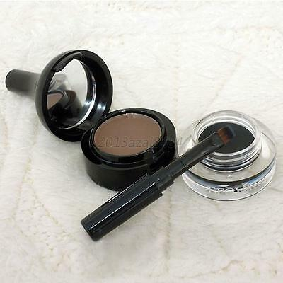 New Makeup Waterproof Eyebrow Powder And Black Eyeliner Gel Set With Brush A36