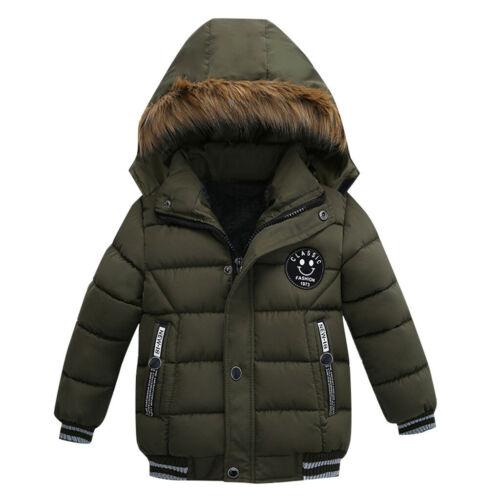 Boys Kids Winter Coat Hooded Warm Cotton Fur Padded Parka Jacket Outerwear 1-5Y