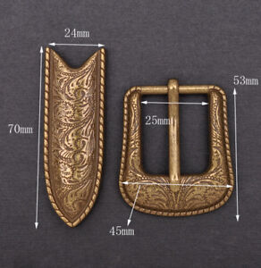 Vintage-Copper-Western-Flower-Engraved-Cowboy-Belt-Pin-buckle-For-1-034-Belt-Strap