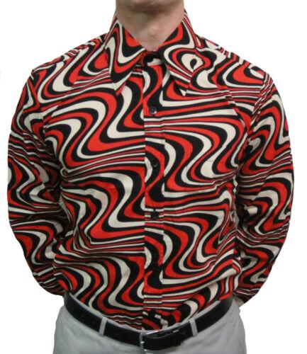 CHENASKI BLACK RED /& CREME WAVYLINE SHIRT MOD CLOTHING RETRO 60/'S NORTHERN SOUL